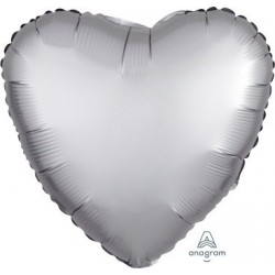 Satin Platinum Heart Foil Balloon