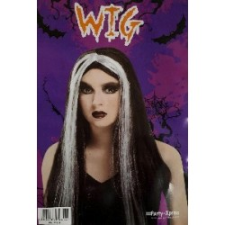 Long straight black wig with white streak