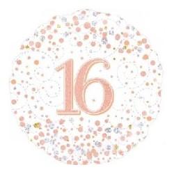 "18"" Sparkling Rose Gold 16th Foil Balloon"