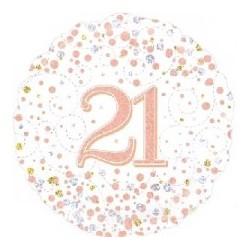 "18"" Sparkling Rose Gold 21st Foil Balloon"