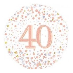"18"" Sparkling Rose Gold 40th Foil Balloon"
