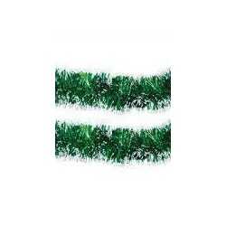 Green tinsel with white tips