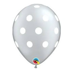 Silver Polka Dot Balloons (pack of 5)