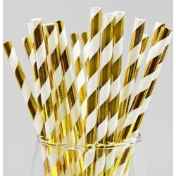 Gold and White Striped Paper Straw (25pcs)