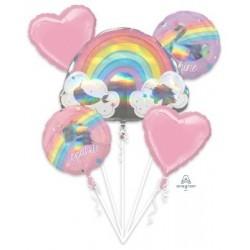 Magical Rainbow Foil Balloon Bouquet (5pcs) - www.mypartysupplies.co.za