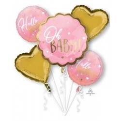 Oh Baby Pink Foil Balloon Bouquet
