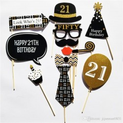 Cheers to 21 Photo Props (20 pcs)