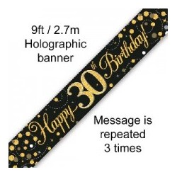 Sparkling Happy 30th Birthday Banner