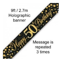 Sparkling Happy 50th Birthday Banner