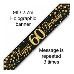 Sparkling Happy 60th Birthday Banner