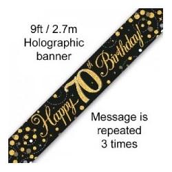 Sparkling Happy 70th Birthday Banner