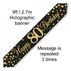 Sparkling Happy 80th Birthday Banner