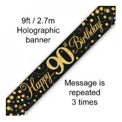 Sparkling Happy 90th Birthday Banner