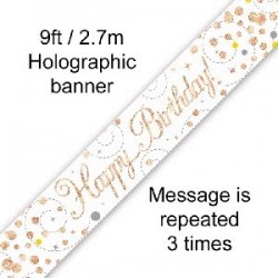 Sparkling Happy Birthday Rose Gold Banner (2.7m)