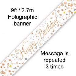 Sparkling Happy Birthday Rose Gold Banner (2.7m)