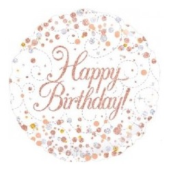 "18"" Sparkling Rose Gold Happy Birthday Foil Balloon"