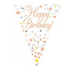 Sparkling Fizz Rose Gold Birthday Banner