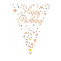 Sparkling Fizz Rose Gold Birthday Banner