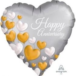 Anniversary Platinum Hearts Foil Balloon