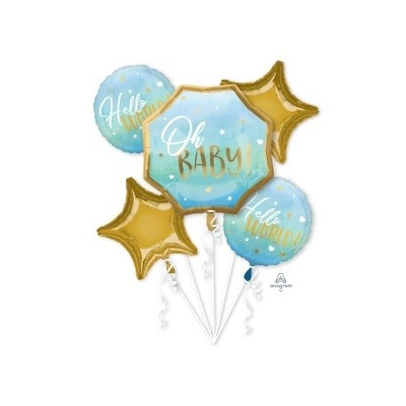 Oh Baby Blue Foil Balloon Bouquet