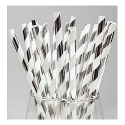 Silver and White Striped Paper Straw (25pcs)