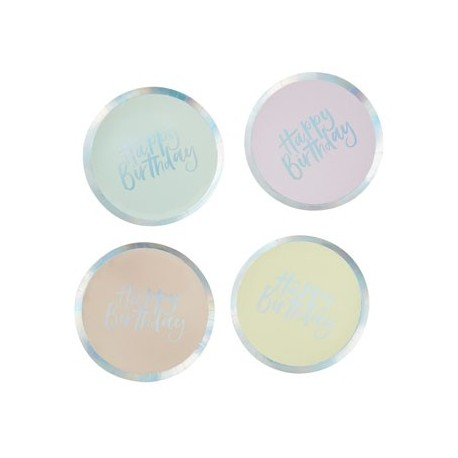 Pastel Happy Birthday party plates (pack of 8)