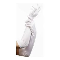Gloves Material 45cm Long White