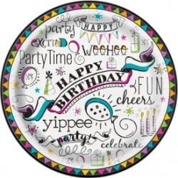 Doodle Birthday Plates (pk/8)