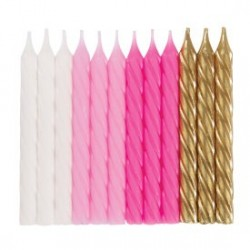 Pink White and Gold Spiral Candles