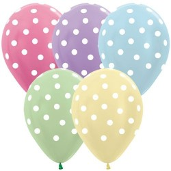 Polka Dots White on Satin Assorted Colours x 1