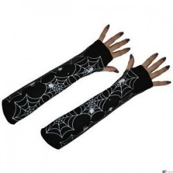 Long black fingerless spiderweb print gloves