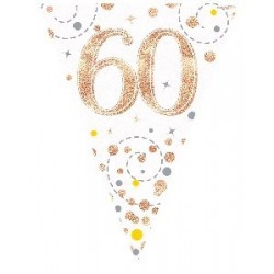 Sparkling Fizz Rose Gold 60th Birthday Flag Banner (3.9m)