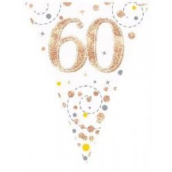 Sparkling Fizz Rose Gold 60th Birthday Flag Banner (3.9m)