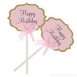 Happy Birthday Cupcake topper (2pcs) - Pink
