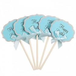 Happy Birthday Cupcake topper (2pcs) - Blue