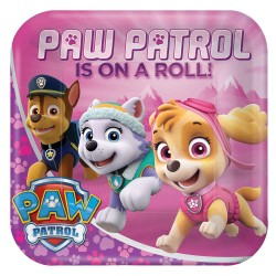 Pink Paw Patrol Square Plates (pack of 8)