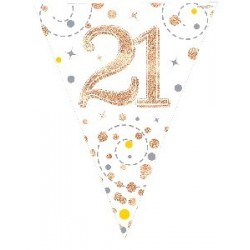 Sparkling Fizz Rose Gold 21st Birthday Flag Banner (3.9m)