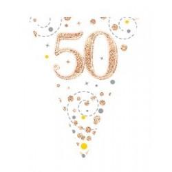 Sparkling Fizz 50th Rose Gold Birthday Flag Banner (3.9m)