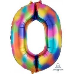 Rainbow Splash Number 0 Supershape Foil Balloon