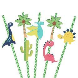Dinosoaur themed straws
