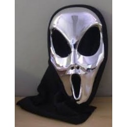 Silver Chrome Alien Mask with hood