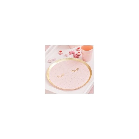 Gold Foiled & Pink Eye Mask paper plates (pk/8)