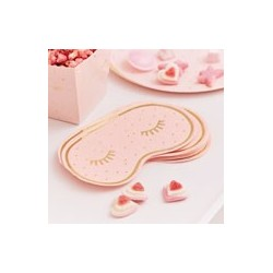 Rose Gold Foiled & Pink Eye Mask Shaped Serviettes (pk/16)