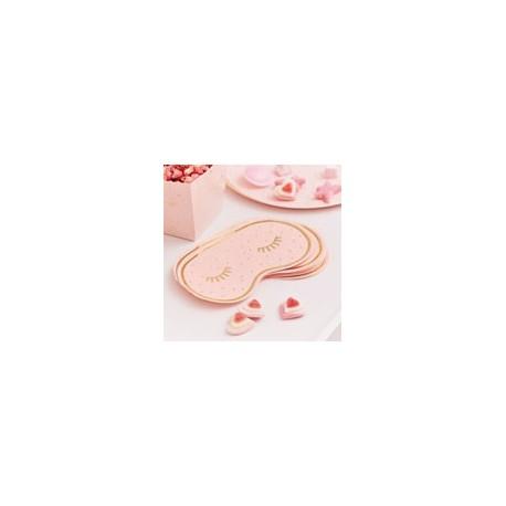 Rose Gold Foiled & Pink Eye Mask Shaped Serviettes (pk/16)
