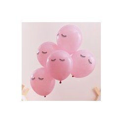 Pink Sleepy Eyes Printed Balloons (pk/5)
