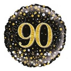 "18"" Black Fizz 90th Birthday Foil Balloon"