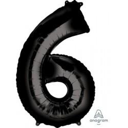 Black Number 6 Supershape Foil Balloon