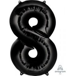 Black Number 8 Supershape Foil Balloon