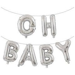 Oh Baby - Balloon Bunting (Silver)