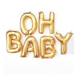 Oh Baby - Balloon Bunting (Gold)